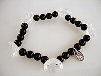 JOD Flower: bracelet onyx +bergkristall