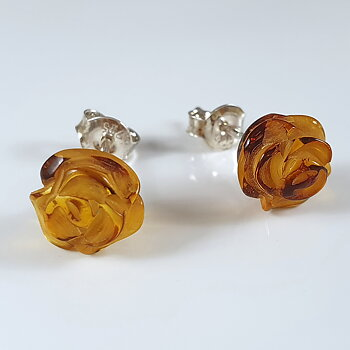 Bärnsten skulpterade rosor ca. 9mm örstick 925-silver
