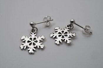 Snöflingor, örstick, hängande 925-silver Min. 3par Pris/par