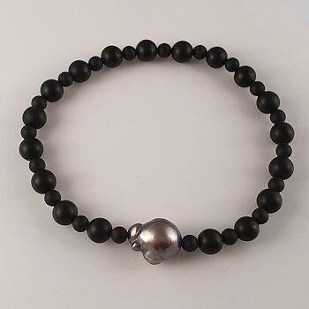 Tahitipärla med svart onyx, armband JOD