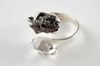 Ring JOD meteorit och herkimer , justerbar 925-silver