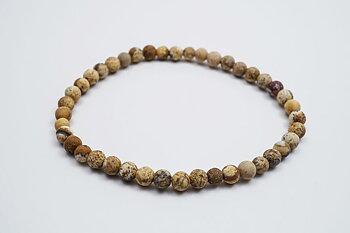 4mm matte picture jasper bracelet
