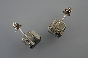 Pyrite crystals, earrings, sterling silver