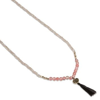 Pearls for Girls halsband 90 cm rosa jade med tofs
