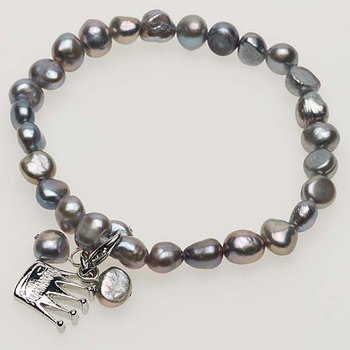 Pearls for Girls. Armband med grå pärlor