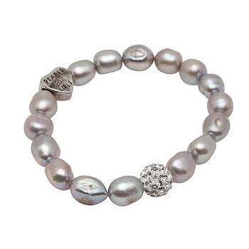 Pearls for Girls. Armband med grå pärlor och bling