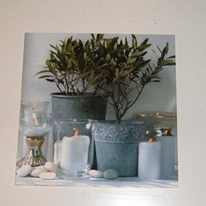 Fyrkantigt kort med ljus och Olivträd