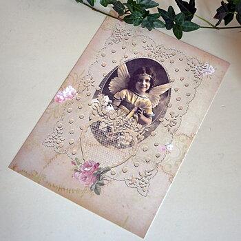Kort - Liten ängel och rosor