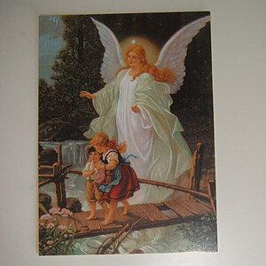 Kort - Ängel och barn på bro