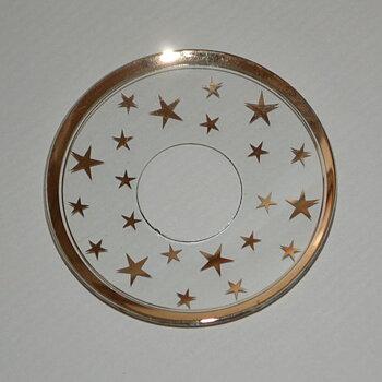 Ljusmanschett glas - guld med stjärnor