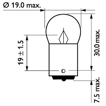 Glödlampa R5W 5W BA15s.