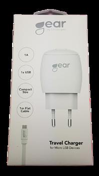 GEAR  1A 1x USB, inkl Micro USB kabel 1m.