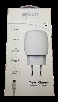 GEAR  2.4A 2 x USB, inkl Micro USB kabel 1m.