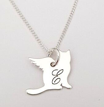 Hänge, Katt med vingar -  Valfri bokstav - Sterling silver 925