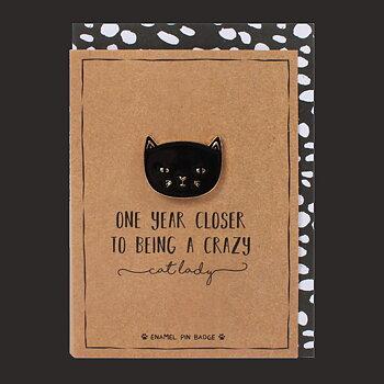 Födelsedagskort med brosch - Crazy Cat Lady