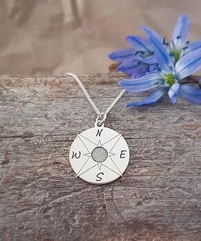 Kompass, Silver 925, Halsband eller hänge