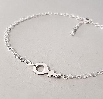 Fotlänk med liggande kvinnosymbol - Sterling silver 925