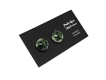 DOT earring - Glossy green/black