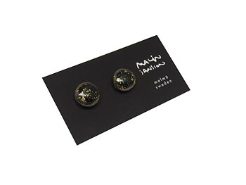 DOT earring - Glossy black/gold splash