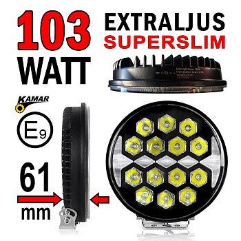 Nyhet! 103W LED extraljus Ø220mm med superslimmat chassi 61mm E-märkt 9-32V