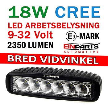 18W LED arbetsbelysning med bred ljusbild 90° 9-32V