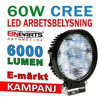 60W LED arbetsbelysning  ljusbild 60° CREE 12-24V