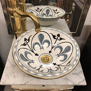 Moroccan wash basin- Lily Dark gold