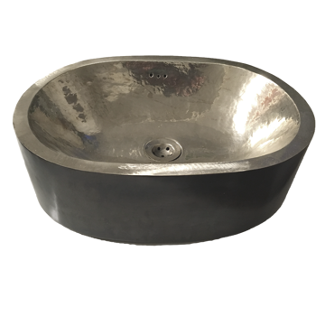 Basin pewter - double skin oval