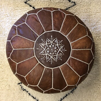 POUF LEATHER- VINTAGE NATUR
