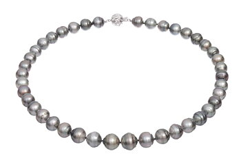 Tahitian pearl necklace set with white gold clasp  9-13mm