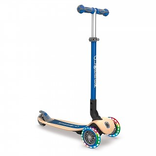 GLOBBER Scooter Primo Foldable WOOD LIGHTS Blue