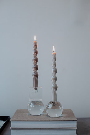 Twisted candles 'Pearl' (Set of 4) -  Silver Pearl, Fully Curled