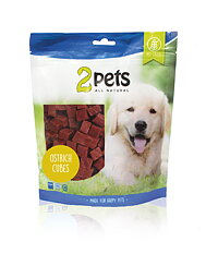 2pets Dogsnack Ostrich/Struts Cubes, 400 g