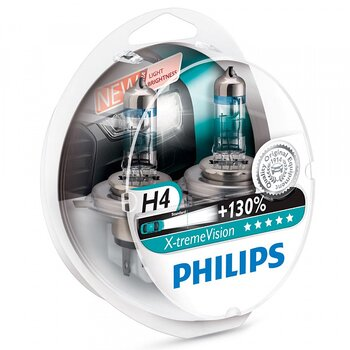 2-Pack Philips H4 X-tremeVision +130%
