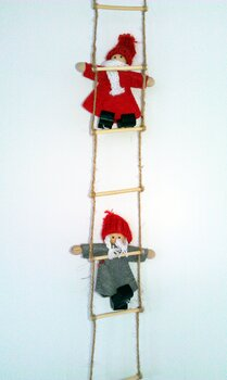 Little santas on a ladder