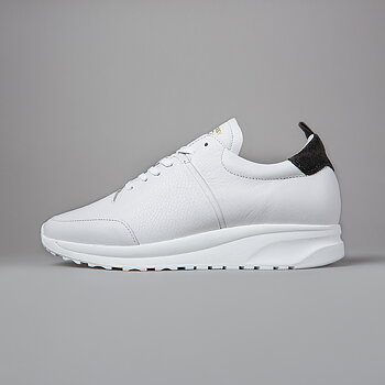 CLOUD RUNNER - TUMBLED LEATHER - WHITE/BLACK