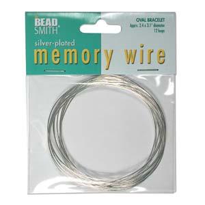 Silverpläterad oval memory wire för armband, ca 6*7,5 cm i  diameter, 12 varv.