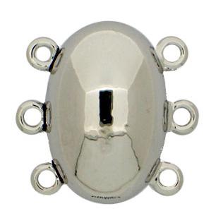 Ovalt magnetlås från Clasp Garten, 17*11,5 mm. 3-radigt. Rodiumpläterat.
