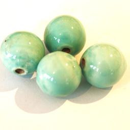 Mintgrön keramikpärla, 12 mm. 4-pack.