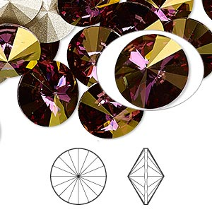 Swarowski Rivoli 14 mm, Crystal Lilac Shadow