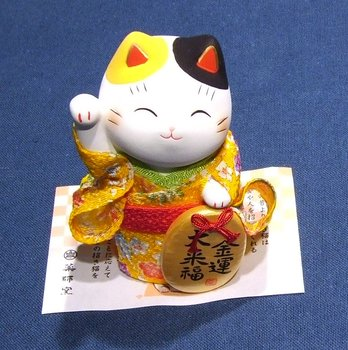 Lucky Cat with kimono Yellow Money