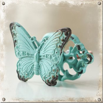 Turquoise knob with butterfly