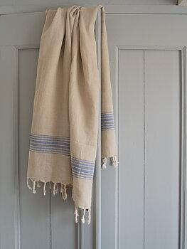 Hammam handduk, linne - grekisk blå