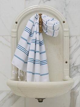 Hammam handduk 100 x 50 cm - vit/oceanblå