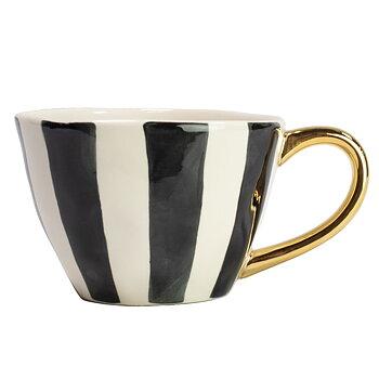 Kopp, Doris - svartvit med guldhandtag SLUT