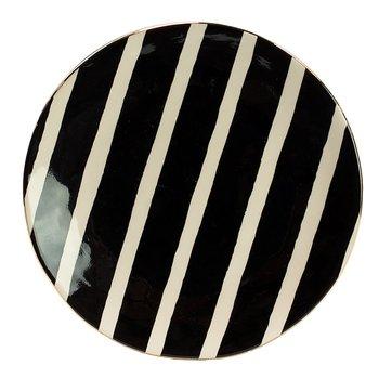 Tallrik, Doris - svartvit med guldkant
