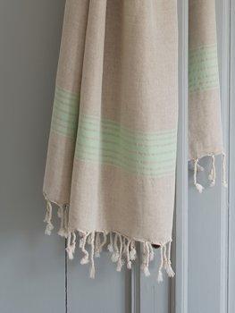 Hammam handduk, linne - pistache ränder