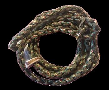 Handflätat Retrieverkoppel med hornstopp och gjuten mässingsring. Mossgrönt/Lime/Vinrött