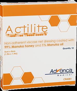 Actilite – Viskosnät med Manukahonung Icke-vidhäftande förband med Manukahonung  10st 5x5cm