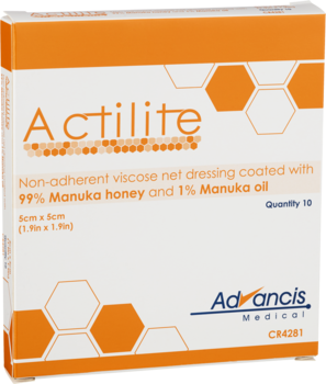 Actilite – Viskosnät med Manukahonung Icke-vidhäftande förband med Manukahonung  10st. 10x10cm